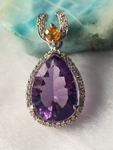 Natural amethyst silver pendant, pears 10mm*14mm with bright tourmalines, all clean amethyst and full cutting fire