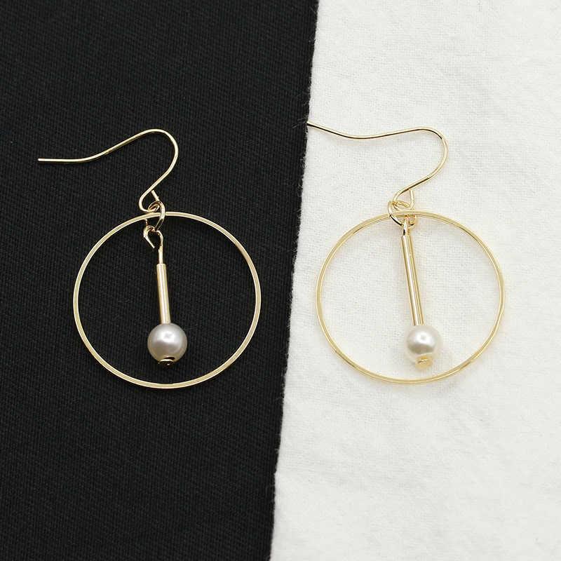 New Arrival Round Triangle Shaped Silver Gold Black Dangle Drop Earring For Women Ear Jewelry Imitation Pearl Long Earrings