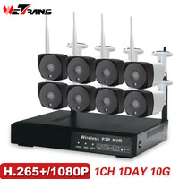 8CH CCTV Camera System Wireless 1080P HD Plug Play 20m Night Vision P2P Waterproof Home Security