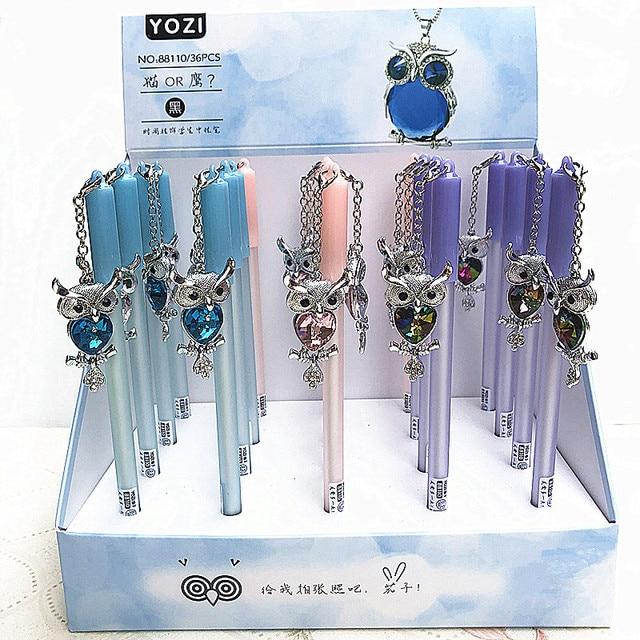 wholesale 20pcs kawaii gel ink pen lot fashion crystal owl pendant pens for school office students stationary cute animal pen