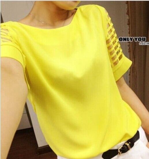 Tops Corta 5xl Verano Blusas Tamaño Mujeres amarillo Casual Plus blanco azul S Camisa Señoras De Femenina Negro Hueco Las Gasa Manga Blusa nOTr0qO46w