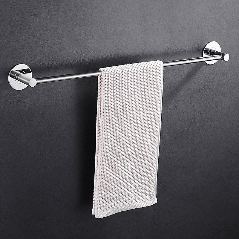 bathroom strong stick towel hanging rod stainless steel single towel bar no drilling hole towel rack j16344