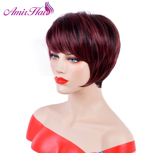 Image 3 - Pelucas cortas y rectas de pelo sintético pelucas de pelo rojo vino de fibra de alta temperatura, pelucas para uso diario