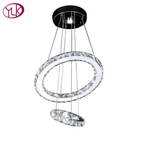 Youlaike Remote Control Modern LED Chandelier Living Dining Room Crystal Light Fixture Double Rings Indoor Lighting