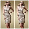 Champagne Mãe dos Vestidos de Noiva Do Laço Do Vintage Acima Do Joelho comprimento da Bainha Cap Mangas Plissado 2015 Vestido de Noite Curto Mais tamanho
