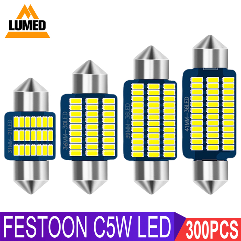 300x C5W LED Car light Bulb Luces LED Para Auto Interior Side light Festoon Dome Reading