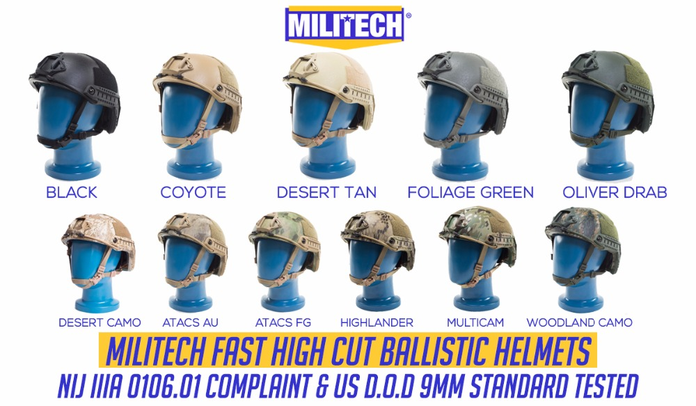 Image 1 - MILITECH Ballistic Helmet NIJ Level IIIA 3A ISO Certified FAST OCC Dial High Cut XP Cut Aramid Bulletproof Helmet With HelmetBag-in Self Defense Supplies from Security & Protection