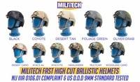 MILITECH OCC Dial NIJ Level IIIA 3A FAST High Cut Ballistic Helmet Bulletproof Tactical Helmet With