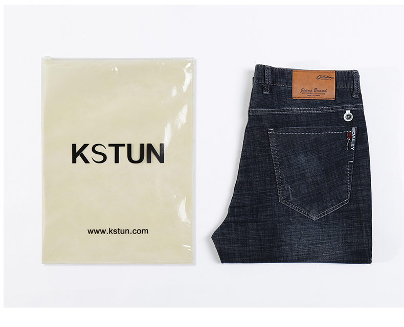 KSTUN 2019 Jeans Men Business Casual Classic Direct Straight Black Ultrathin Soft Breathable Long Trousers Businessman Gentlemen Jeans 19