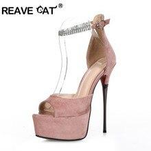 676b2c79 REAVE gato Sexy plataforma sandalias de las mujeres de Ultra alta tacón 16  CM zapatos Peep