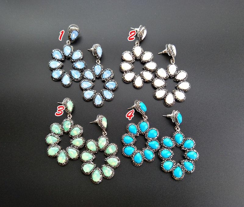 1 Pair Gorgeous Flower Vintage Bohemia Pendants Water drop Semi Precious  Stone charm Bohemian Style Earrings 2fdc584de843