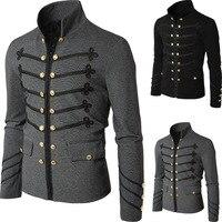 Adult Men Medieval Costume Canvas Suede Turtleneck Jacket Battle Hero Outfit Winter Coat Costume