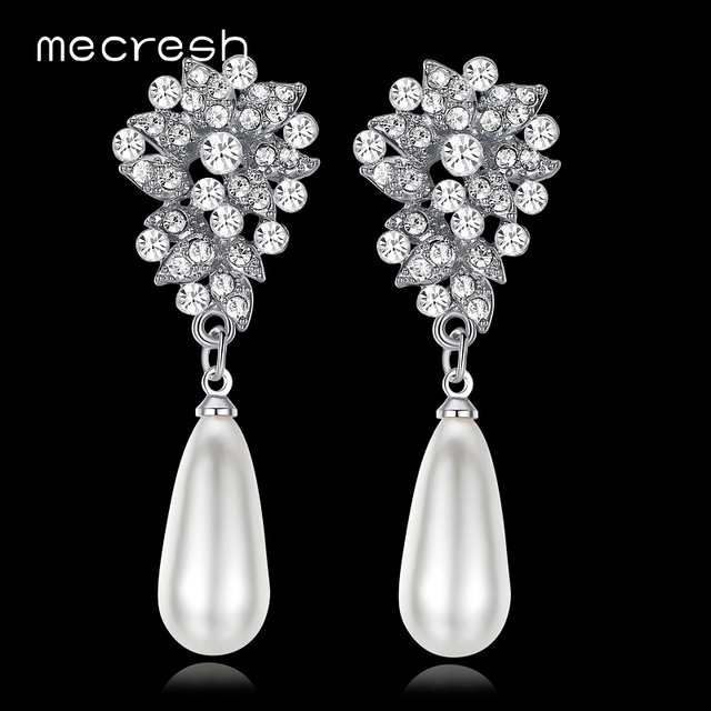 Mecresh New Spring Simulated Pearl Bridal Drop Earrings for Women Leaves Crystal  Party Hanging Brincos Wedding de2209cf04a8