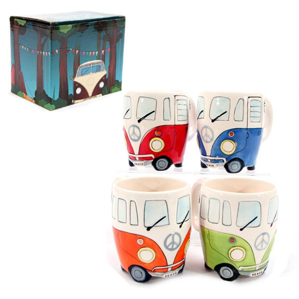 Nette Originalität Keramik Tassen Hand Malerei Retro Double Decker Bus Becher Kaffee Milch Tee Tasse Wasser Flasche Drink Tassen