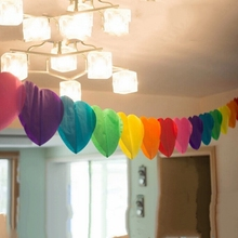 3m Rainbow Heart-Shaperd Party Garland Love Tissue Paper Gar