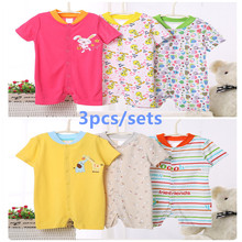 3pcs/sets Summer Baby Boys Romper girls clothes infant one-pieces baby Cotton short sleeve suits vestidos meninas roupas bebe