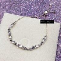 2019 High quality Charm logo Carved Silver 925 pandoras chain women jewelry Glacial Beauty Sliding Bracelet cz ,1pz