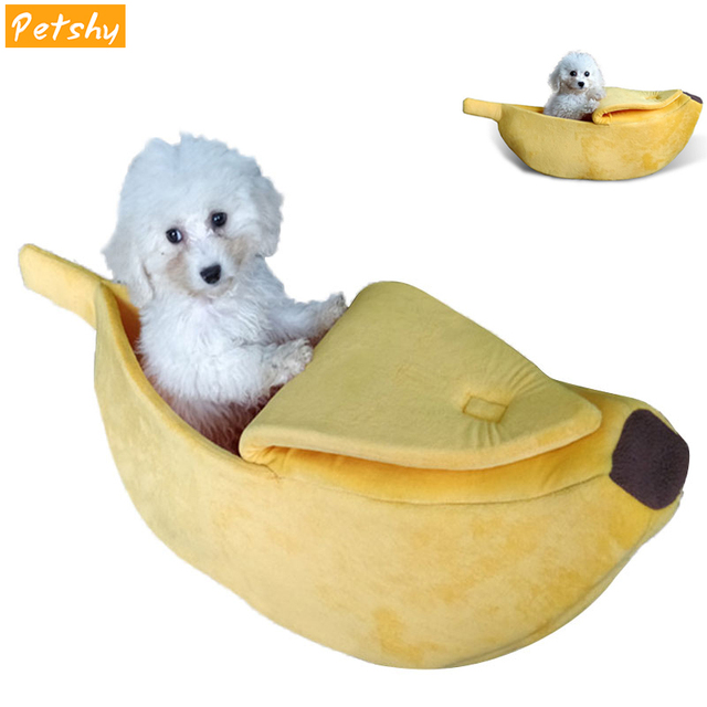 Petshy Pet Cat House Dog Bed Banana Shape Dog House Cute Pet Kennel Nest Warm Dog Sofas Cat Sleeping Bed Beds Pets Supplies
