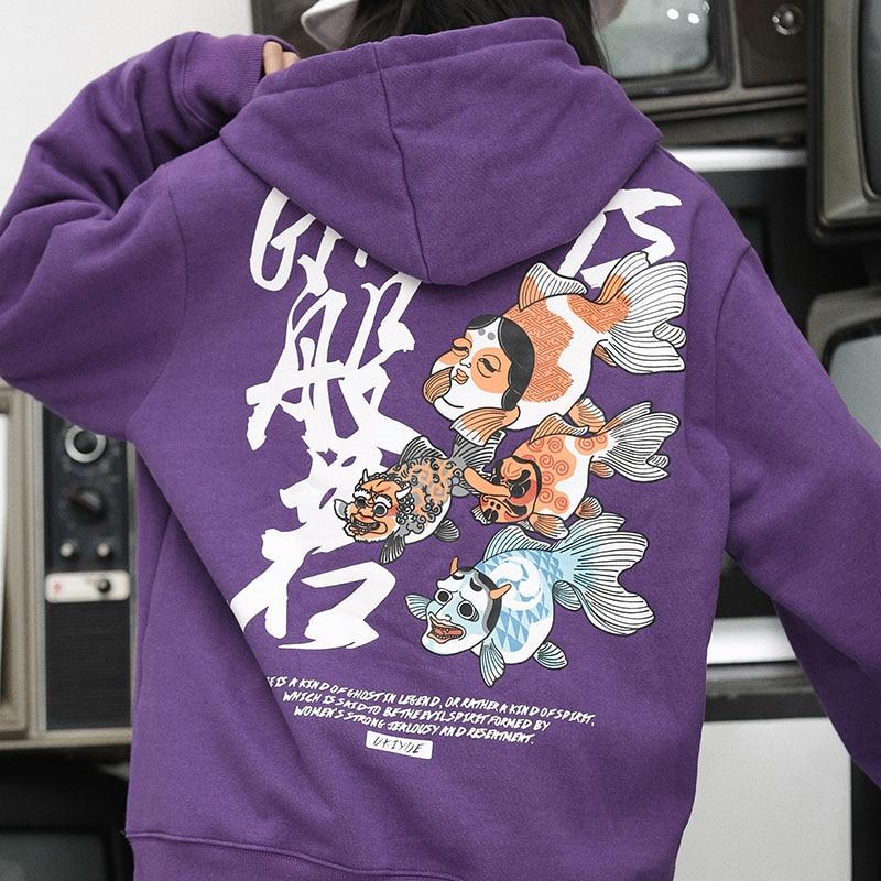 Hombre 2018 Para Japonés E Ukiyo Streetwear Hoodies Algodón Harajuku Fish A31w2019 Casual Otoño Con Pulóver Purple Hop a31w2019 Print Capucha Hip Sudadera Black Ghost fFWqXIYU