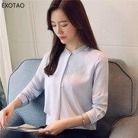 EXOTAO Irregular Female Shirt Pearl Button Long Sleeves Women Chiffon Shirts Office Lady 2018 Spring Feminina