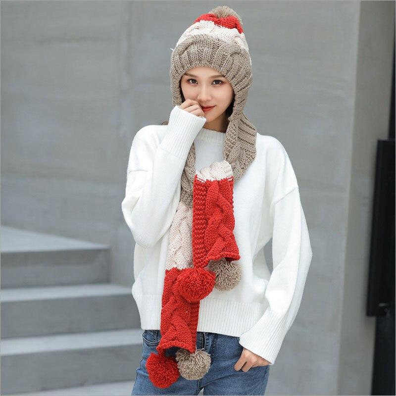 4a3fb4858d3 ... Winter Hat Mask Scarf Set Fleece Neck Warmer Cap Women Skullies Beanies  Pom Pom Hats Knitted ...