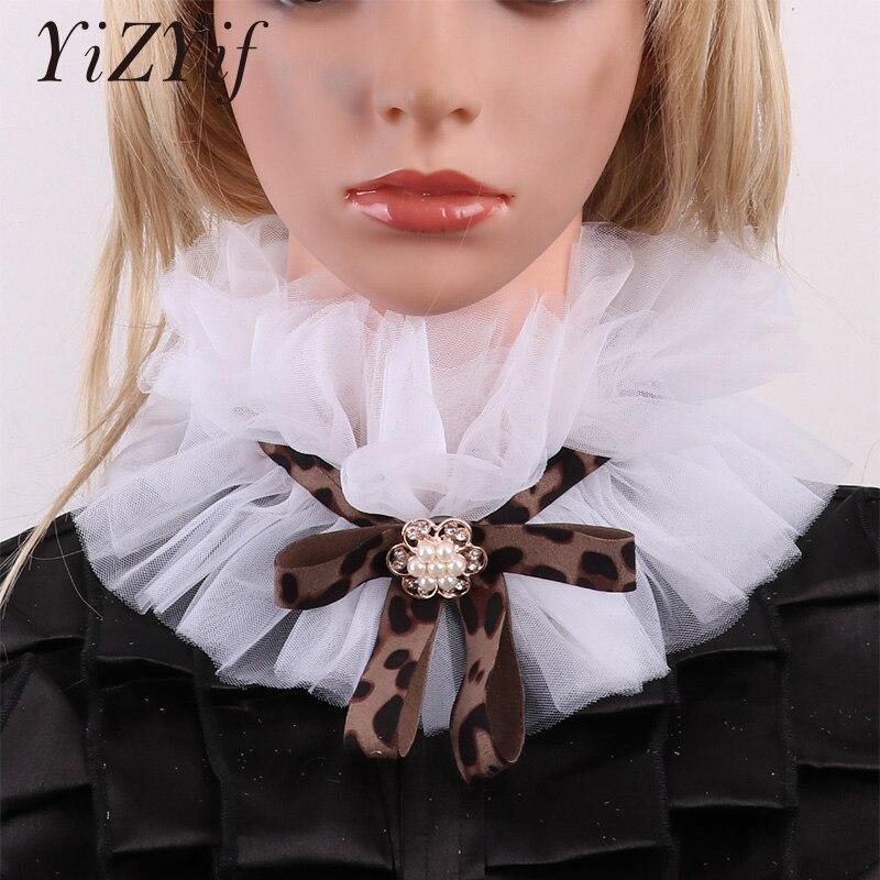 Fake Collar Detachable Collar For Women Victorian Fake Decorative Neck Collar Ruffled Mesh Choker Vintage Sweater Shirt Collar