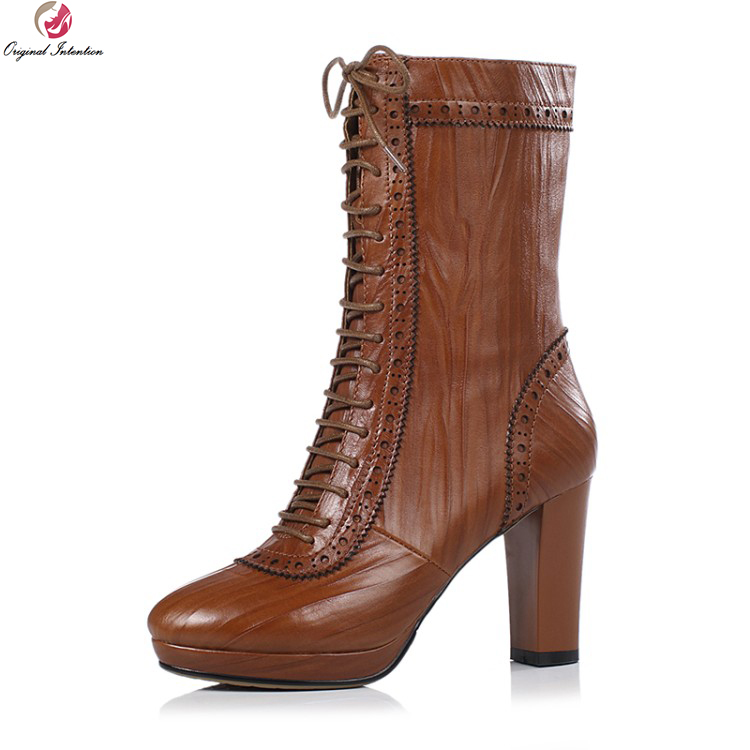 Original Intention New Fashion Women Mid-Calf Boots Real Leather Round Toe Square Heels Boots 3 Colors Shoes Woman US Size 3-8.5 double buckle cross straps mid calf boots