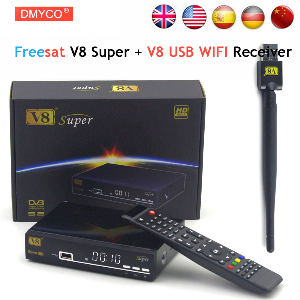 Freesat V8 Super DVB-S2 Satellite TV Receiver With USB Wifi Support PowerVu Biss Key clines Newcamd Youtube Youporn Set Top Box wholesale freesat v7 hd dvb s2 receptor satellite decoder v8 usb wifi hd 1080p support biss key powervu satellite receiver