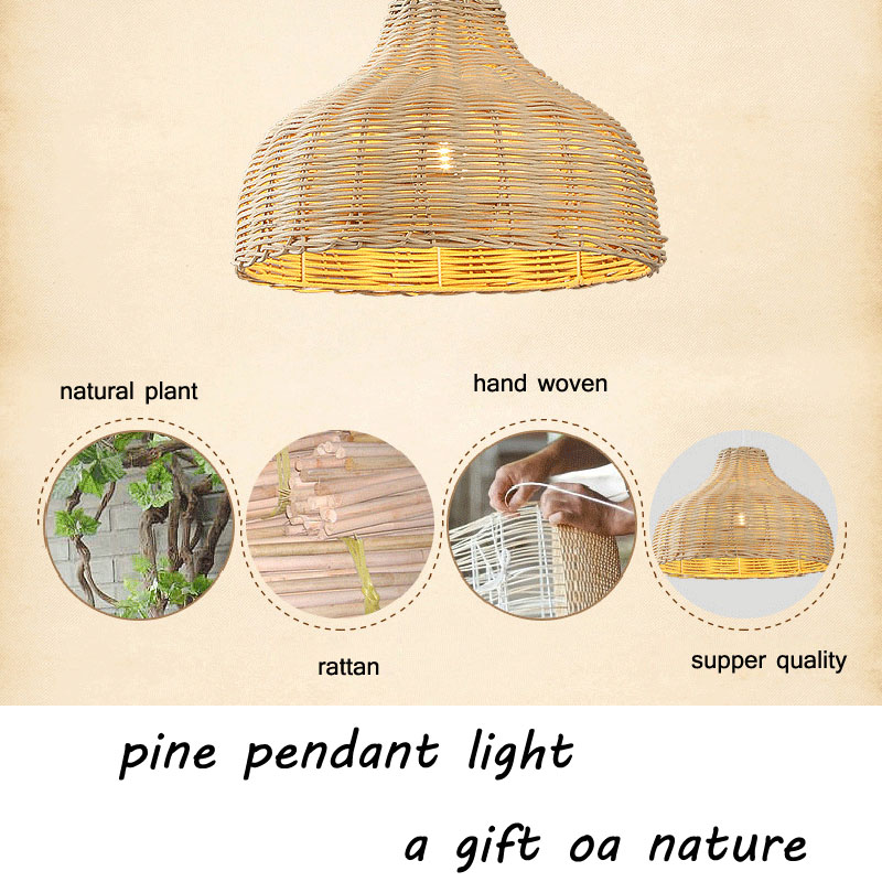 Contemporary Rattan Hanging Pendant Light Country Hand Woven Wicker Drop Home Lighting Pendant Lamp Restaurant Cafe Shop Bar Pendant Light (24)