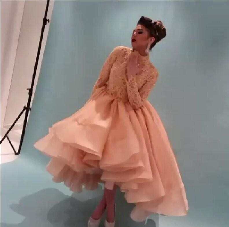 Saudi vestidos de fiesta 2016 Elegant High Neck Long Sleeve Lace   Prom     Dresses   Organza Ball Gowns