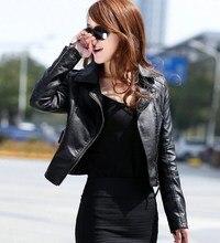 Women Fashion Black Motorcycle Coat Female PU Leather Jacket Short Faux Leather Biker Jacket Soft Jacket studded embroidery pu biker jacket