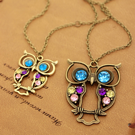 Retro Colorful Crystal Owl Chain Necklace