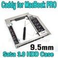 """Hot Plug and Play 9.5mm De Alumínio 2.5 """"SSD HDD Hard Disk Motorista caddy SATA 3.0 Caso Gabinete Externo para Macbook Pro Ar"""