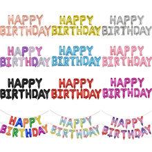 Ballons joyeux anniversaire en aluminium, 13 pièces, décorations de fête d'anniversaire pour enfants et adultes, ensemble de ballons Alphabet