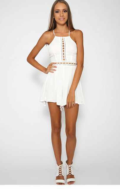 Summer Backless Jumpsuits Hollow Bandage Sexy Rompers Shorts Women