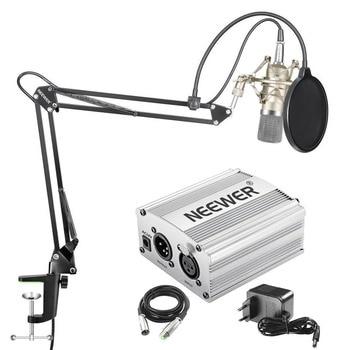 Neewer NW-700 Condensator Microfoon Kit NW-35 Boom Scissor Arm Stand met Shock Mount voor Home Studio Opname 48 V Power supply