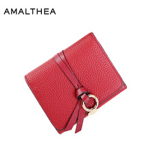 AMALTHEA Genuine Leather Wallet Female Short Women Purses Coin Purse Womens Wallets And Purses Women Wallets Clutches Hot AMWG77