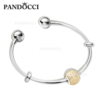 PANDOCCI 100% 925 Sterling Silver New GOLD Color Flashing Ball Charm Opening Bracelet Surprise Gift Set Women Jewelry