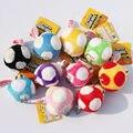 Super Mario Bros Mushroom Peluches 6 CM Muñecos de Peluche Juguetes de Peluche Llavero Teléfono Celular correa