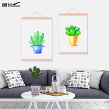 Hanger Poster No Frame Wall Picture Smart Cartoon Cactus Canvas Wall Art Prints Nordic Style Posters Living Room Modern Decor(China)