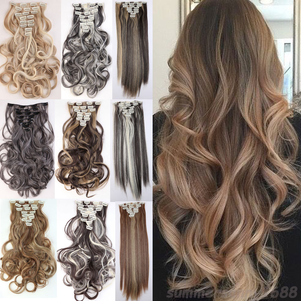 new sale fashion style highlight color 8 piece full head clip in hair extensions 18clips on