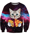 2015 autumn galaxy series pizza cats cute cartoon hoodies 3D print o-neck loose pullover sweatshirts personality Tops femme