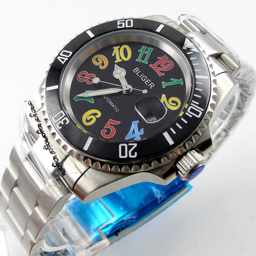 40mm BLIGER Ceramic Bezel Luminous sapphire automatic Date Day mens watch цена и фото