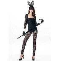 2016 עור באני תלבושות משחק תפקידים בגדי סרבלי תחרה הלבשה תחתונה סקסי באני ארנב שחור תחפושות סקסיות המדים קוספליי