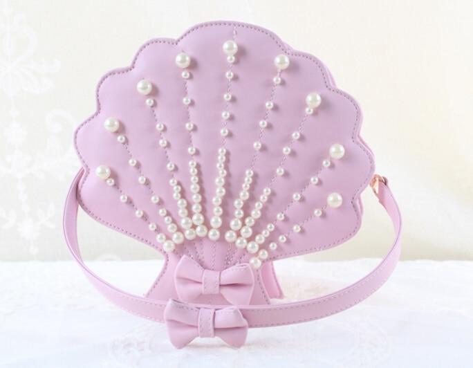 ФОТО lolita sea shell with pearl Shape bag shoulder bag handmade Sweet HARAJUKU new