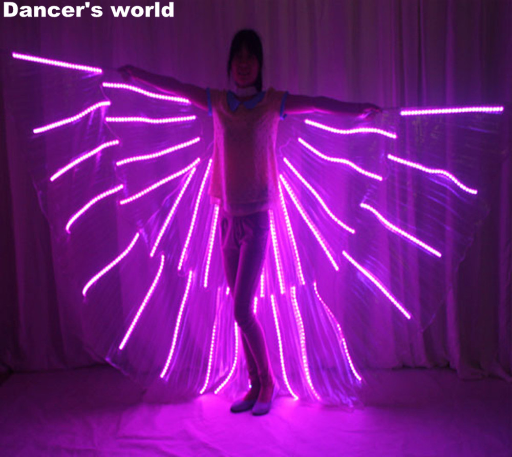 LED Costumes Belly LED Wings Stage Performance Women Dancewear LED Butterfly ISIS Belly Dance Luminous Wing