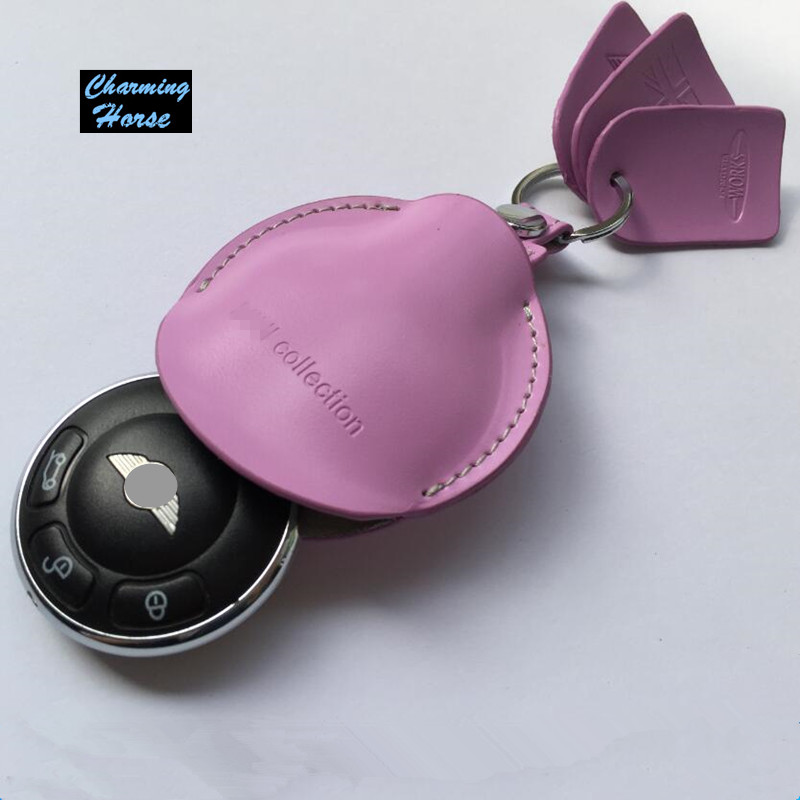 For Mini Cooper Countryman R60 Paceman R61 R55 R56 Leather Remote Key Case Fob Chain Holder