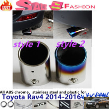 car Styling muffler exterior end black pipe dedicate stainless steel exhaust tip tail 1pcs for T0Y0TA RAV4 2014 2015 2016