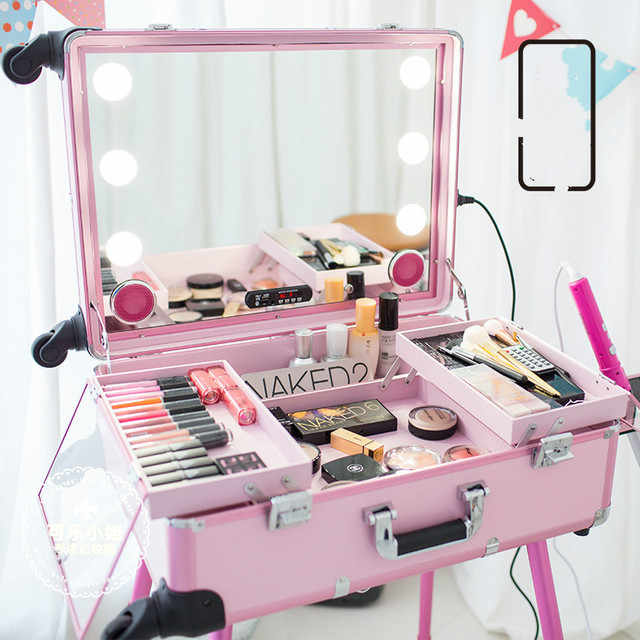 2016 New Big Type LED Multimedia Makeup Box USB Bluetooth speakers trolley Beauty case with Legs LED lights Lighted Makeup Box