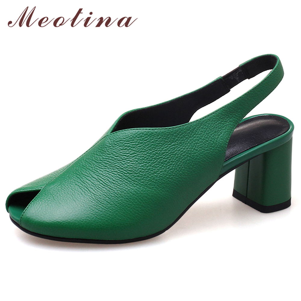 Meotina High Heels Women Pumps Natural Genuine Leather Block High Heels Shoes Cow Leather Peep Toe Shoes Ladies Green Size 34-39